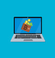 laptop screen with wallet vector image
