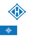 letter h with arrow blue color vector image