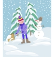 Little boy shoveling snow on home drive way vector image
