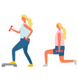 lunges with dumbbells and step fitness exercise vector image vector image