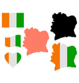 map of Ivory Coast vector image vector image