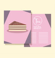 menu card with slice cake vector image