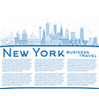 outline new york usa city skyline with blue vector image