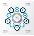 person colorful icons set collection of woman vector image vector image