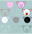 pig face rosy red black grey white colour vector image vector image