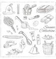 Sauna accessories doodle set Sketch vector image
