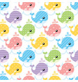 seamless colorful cute whale pattern vector image