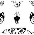 seamless pattern with dog breeds bulldog husky vector image vector image