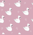 seamless pattern with white swans white swans on vector image vector image