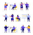 set flat people group businessmen and managers vector image