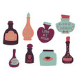 set of colorful magic cartoon bottles and love vector image vector image
