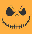 sinister pumpkin face on yellow background vector image vector image