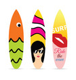 surfboard set in various design color vector image