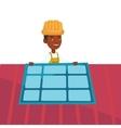 Technician installing solar panel