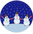 three cheerful snowmen vector image vector image