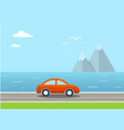 travel with car and landscape vector image vector image