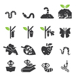 Worm icon set vector image vector image