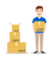 Young smiling delivery service man holding boxes vector image