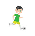 angry boy playing soccer isolated against white vector image vector image