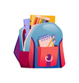 backpack for school bag with books and supplies vector image