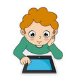 boy with a tablet vector image vector image