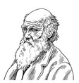 charles robert darwin cartoon caricature vector image