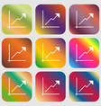 Chart icon sign Nine buttons with bright gradients vector image vector image