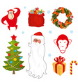 Christmas set Chinese new year objects red monkey vector image vector image