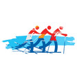 crosscountry skiers team vector image vector image