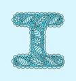 Cute letter I Floral monogram I vector image vector image