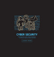 cyber security safety web design with related vector image