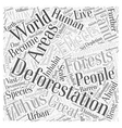 Devastating Effects Of Deforestation Word Cloud vector image vector image