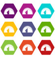 dome tent icon set color hexahedron vector image vector image