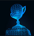 first place award cup with polygonal grid on dark vector image vector image