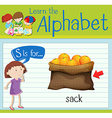 Flashcard letter S is for sack vector image vector image
