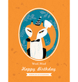 Fox Animal Cartoon Birthday card design vector image