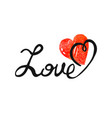 freehand letters love with heart text vector image