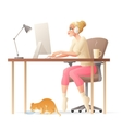 freelance woman working home office with vector image vector image