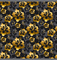 gold and black flowers seamless pattern vector image vector image