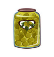 green olives in glass jar flat vector image vector image