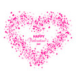 heart shape pink confetti splash with white heart vector image vector image