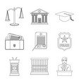isolated object of law and lawyer logo collection vector image vector image