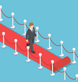 isometric businessman walking on red carpet vector image