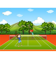 Kids playing tennis in park vector image vector image