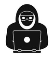 laptop hacker icon simple style vector image vector image
