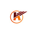 letter k wings logo design concept template vector image