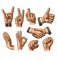 male and female hand sign fist likepointing vector image vector image
