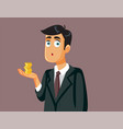male employee holding a few coins vector image