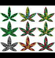Marijuana design leaf textured stamp vector image vector image