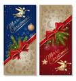 merry christmas festive red and blue background vector image